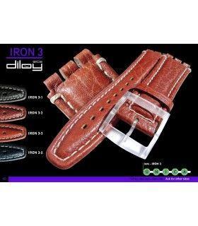 Correa de piel para repuesto reloj Swatch, Diloy Iron3