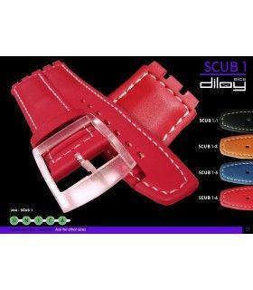 Correa de piel para repuesto reloj Swatch, Diloy Scub1