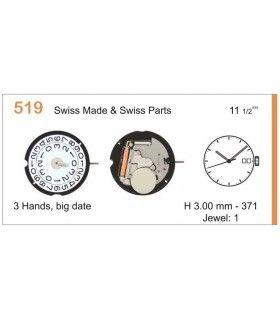 Máquina o movimiento para reloj RONDA 519