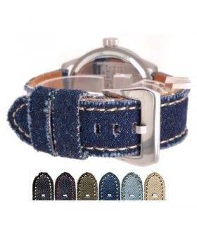 Correas de reloj fabricadas en denim o tela de jean por diloy modelo 390